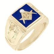 18K GOLD EP MASONIC FREEMASON MENS RING blue