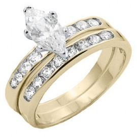 14K GOLD EP 2.9CT DIAMOND SIMULATED MARQUISE ENGAGEMENT RING