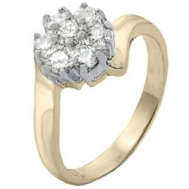 14K GOLD EP 1.62CT DIAMOND SIMULATED FLOWER RING