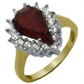 14K GOLD EP 6.49CT DIAMOND SIMULATED RUBY RING