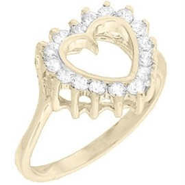 18K GOLD EP 1.0CT SIMULATED DIAMOND HEART RING