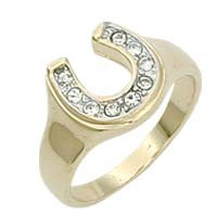 18K GOLD EP CZ WOMENS LUCKY HORSE SHOE RING