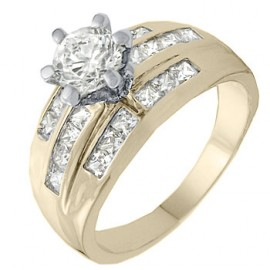 18K GOLD EP 3.0CT DIAMOND SIMULATED ENGAGEMENT RING