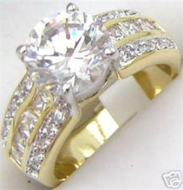 18K GOLD EP 4.0CT DIAMOND SIMULATED ENGAGEMENT RING
