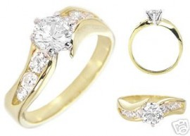 14K GOLD EP 1.85CT DIAMOND SIMULATED RING