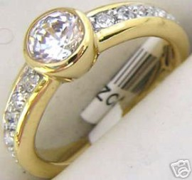 18K GOLD EP 1.6CT DIAMOND SIMULATED ENGAGEMENT RING