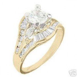 18K GOLD EP 3.1CT DIAMOND SIMULATED ENGAGEMENT RING