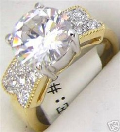 18K GOLD EP 3.5CT DIAMOND SIMULATED ENGAGEMENT RING