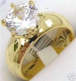 18K GOLD EP 4.4CT DIAMOND SIMULATED SOLITAIRE RING