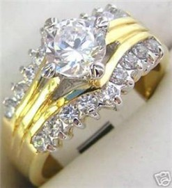 18K GOLD EP 3.06CT DIAMOND SIMULATED ENGAGEMENT RING
