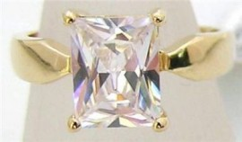 18K GOLD EP 4.5CT DIAMOND SIMULATED SOLITAIRE RING