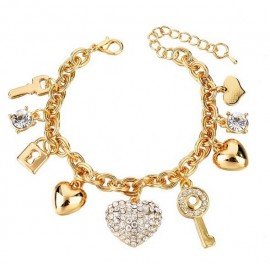 18K GOLD EP CHARM BRACELET HEART KEY PADLOCK DIAMOND SIMULATED