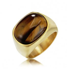 18K GOLD EP TIGER EYE OVAL CUT MENS DRESS RING SIZE  cat eye tigers eye
