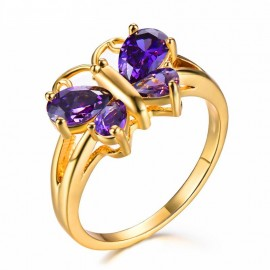 14K GOLD EP 2.5CT AMETHYST CZ BUTTERFLY RING