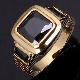 18K GOLD EP 2.5CT BLACK SAPPHIRE  EMERALD CUT MENS RING