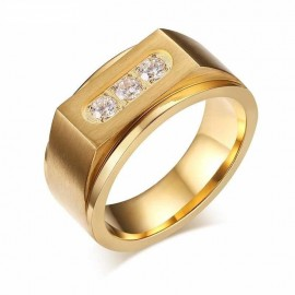 18K GOLD EP DIAMOND SIMULATED ROUND CUT MENS DRESS RING