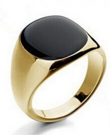 18K GOLD EP BLACK OVAL CUT MENS DRESS RING