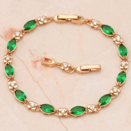 18K  GOLD EP 4 CT DIAMOND SIMULATED EMERALD  LINK BRACELET
