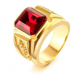 18K GOLD EP RUBY CZ EMERALD CUT MENS DRESS RING