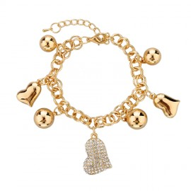 18K GOLD EP CHARM BRACELET HEART DIAMOND SIMULATED