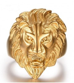 18K GOLD EP MENS STUNNING LION RING BLING HIP HOP