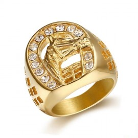 18K GOLD EP CZ ROUND CUT MENS LUCKY HORSE SHOE RING
