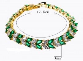 14K GOLD EP 7 CT DIAMOND SIMULATED EMERALD TENNIS LINK BRACELET