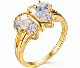 14K GOLD EP 2.5CT DIAMOND SIMULATED BUTTERFLY RING