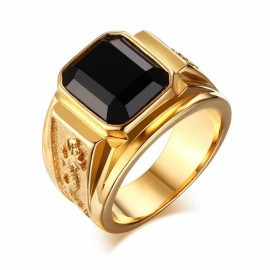 18K GOLD EP BLACK CZ EMERALD CUT MENS DRESS RING