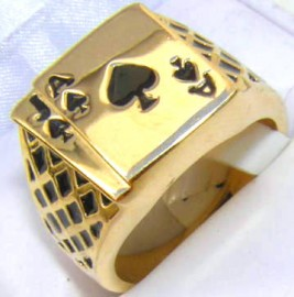 18K GOLD EP LUCKY ACE SPADES MENS CARD RING black