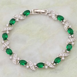14K W GOLD EP 5 CT DIAMOND SIMULATED EMERALD OVAL CUT TENNIS LINK BRACELET