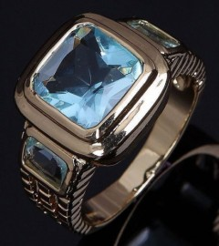 18K GOLD EP 2.5CT AQUAMARINE EMERALD CUT MENS RING