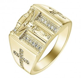 18K GOLD EP  DIAMOND SIMULATED MENS CROSS RING