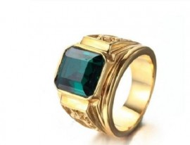 18K GOLD EP CZ EMERALD CUT MENS DRESS RING