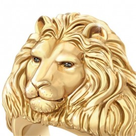 18K GOLD EP MENS CZ LION RING BLING HIP HOP