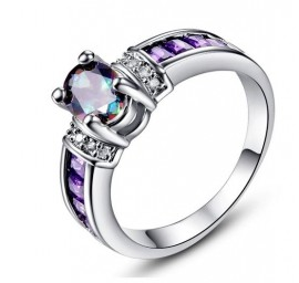 18K W GOLD EP 2.5CT MYSTIC RAINBOW TOPAZ AMETHYST RING WOW