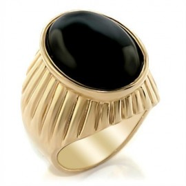 18K GOLD EP OVAL CUT ONYX SET MENS RING