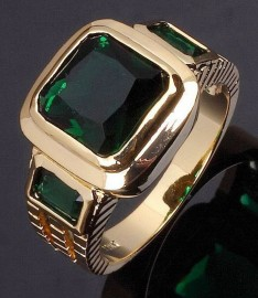 18K GOLD EP 2.5CT  EMERALD CUT MENS RING