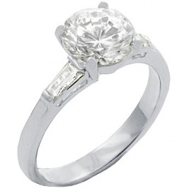 18K W GOLD EP 4.5CT DIAMOND SIMULATED SOLITAIRE RING