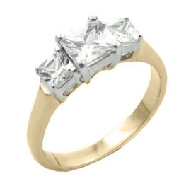 14K GOLD EP 3.0CT DIAMOND SIMULATED ENGAGEMENT RING